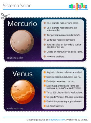 tarjetas del sistema solar