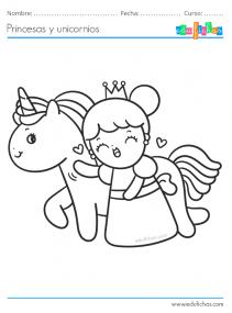 unicornios y princesas para pintar