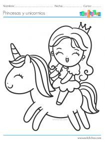 unicornios y princesas colorear