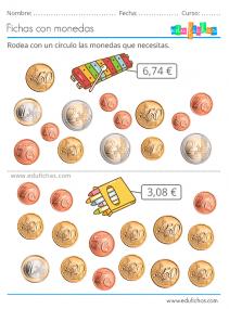 actividades calculo con monedas