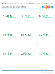 ejercicios de divisiones de dos cifras