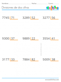 divisiones de números de dos cifras para primaria