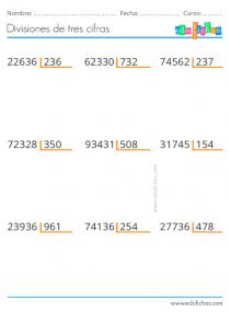 divisiones primaria de tres cifras