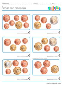 ejercicios con monedas de euro para primaria