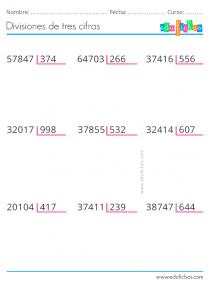 fichas de divisiones de 3 cifras