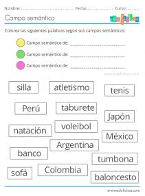 campo semantico ejercicios para niños