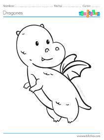 dragón bebé para pintar gratis