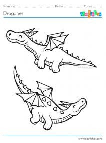 dragones volando colorear
