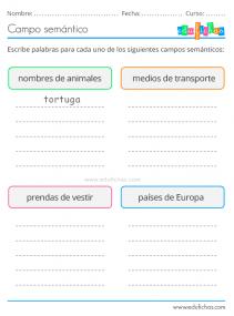 ejercicios de campo semantico gratis