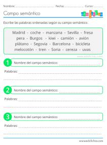 ejercicios de campo semántico primaria