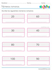 ejercicios numeración romana