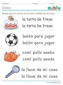 frases dislexia ejercicios para niños