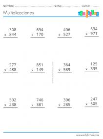 ejercicios de multiplicaciones de 3 cifras