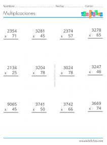 ejercicios de multiplicar 2 cifras