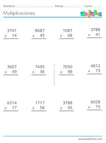 ejercicios multiplicacion dos cifras