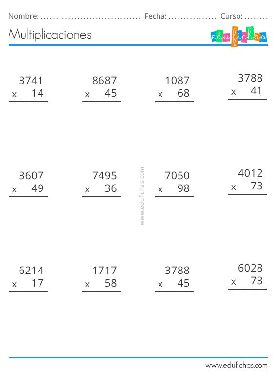 Multiplicaciones Ejercicios Para Multiplicar De Dos Y Tres Cifras