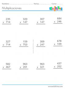 multiplicaciones tres cifras