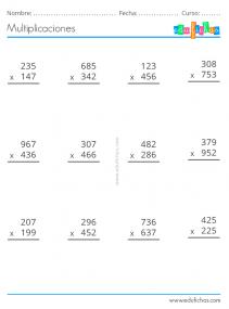 números de tres cifras multiplicar