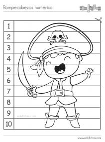 puzzle para colorear de números