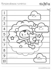 puzzle numerico colorear