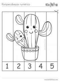 puzzle numeros colorear kawaii