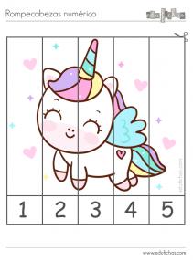 puzzle unicornios y numeros