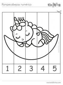 rompecabezas colorear unicornios