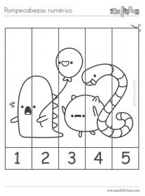 rompecabezas de numeros para colorear