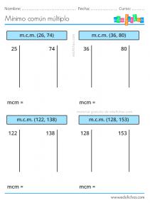 fichas minimo comun multiplo