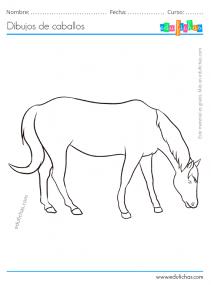 dibujo de un caballo comiendo