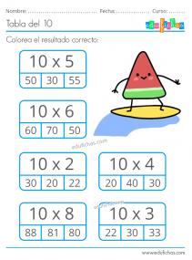 ejercicios de la tabla del 10 para imprimir