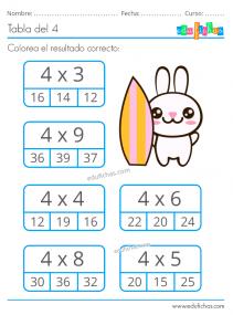ejercicios de la tabla del 4 para imprimir