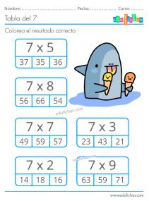ejercicios con la tabla del 7