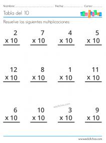 hoja de multiplicaciones x10