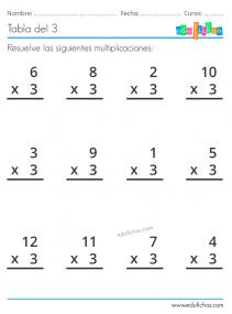 hoja de multiplicaciones x3