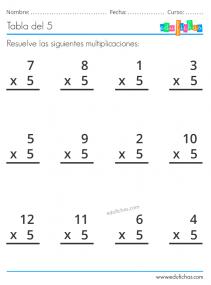 hoja de multiplicaciones x5