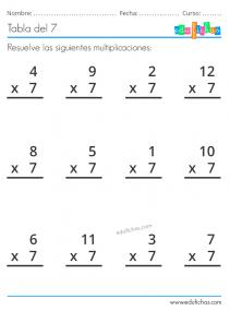 hoja de multiplicaciones x7