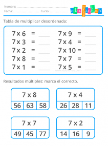 tabla del 7 desordenada