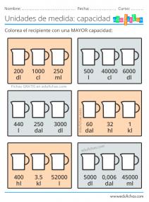 unidades de medida de capacidad ejercicios para imprimir