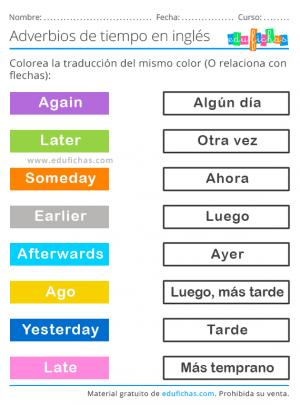 adverbios de tiempo en inglés ejercicio
