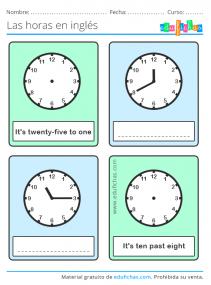 decir las horas en ingles
