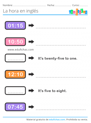 telling time exercise