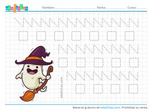 fichas de halloween de grafomotricidad