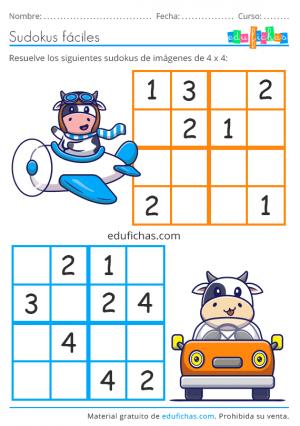 sudoku de 4x4 para niños