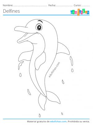 imprimir delfines para colorear