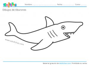 dibujos de tiburones para imprimir gratis