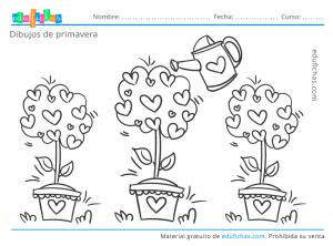 dibujo para colorear primaveral para niños
