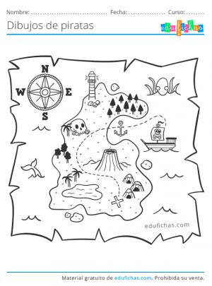 mapa del tesoro para colorear