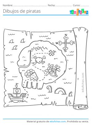 mapas piratas coloreables para imprimir