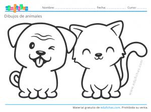 perro y gato para colorear